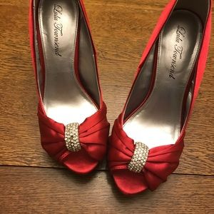 DSW Red Rhinestone Heels, LuLu Townsend
